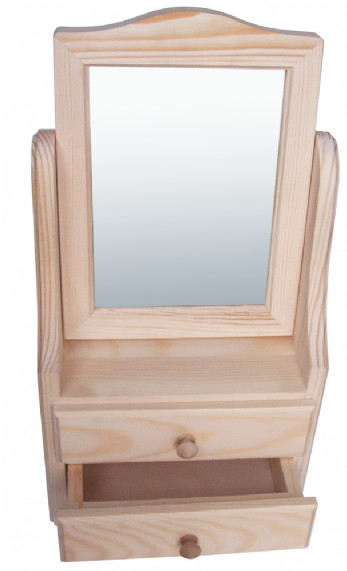 Pine wood dresser unit with tilting mirror 2 drawers for Mirrored drawer unit