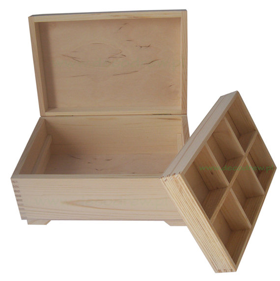 Pine Wood Jewellery Box With Removable 6 Compartment Tray