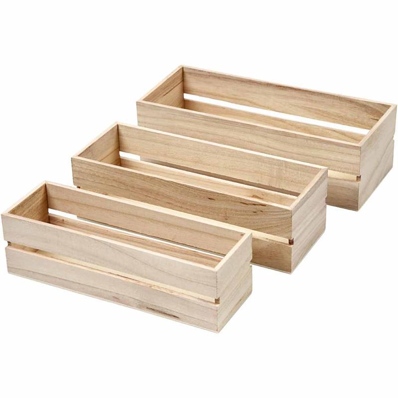 Large New Wooden Storage Box Diy Crates Toy Boxes Set: Set Of 3 Open Top Mini Display Fruit Box Storage Boxes