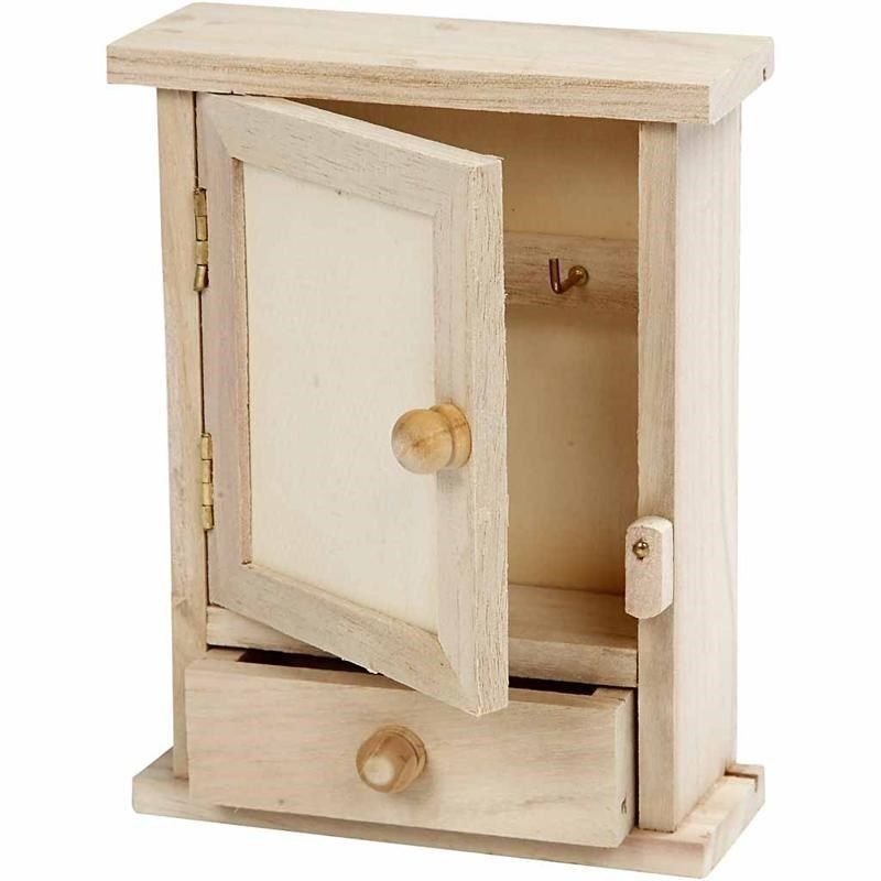 Simple small unfinished natural wood key cabinet WC370 dinky keys storage case